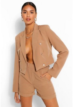 Camel Crop Military Button Blazer