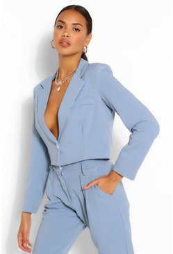 Blue Crop Textured Blazer