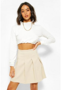 Stone beige Pleat Mini Skirt