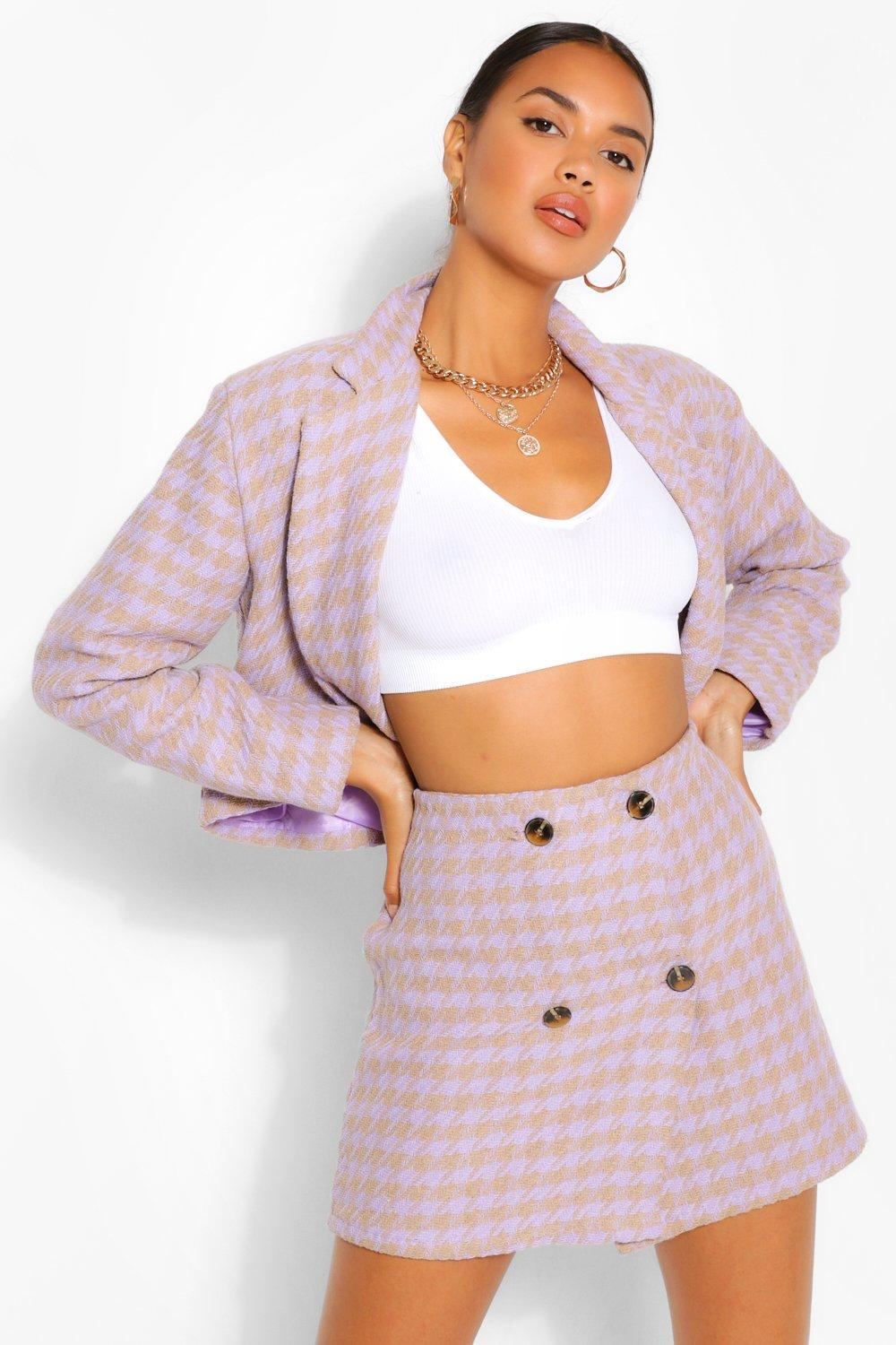 Sale Suits & Tailoring Button Detail Dogtooth Mini Skirt