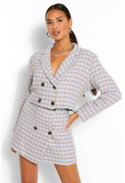 Dogtooth Crop Jacket & Mini Skirt Suit Set