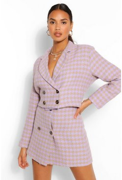 Lilac purple Double Breasted Dogstooth Crop Jacket