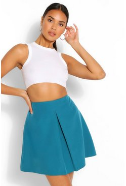 Teal green Pleat Front Mini Skirt