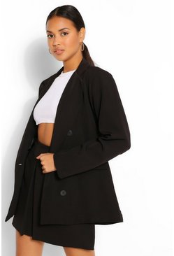 Black Double Breasted Oversized Blazer