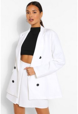 Ivory white Double Breasted Oversized Blazer