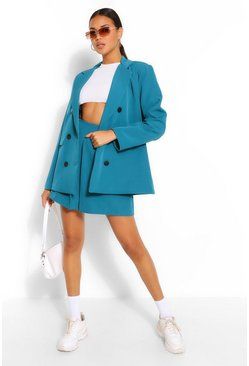 Teal green Double Breasted Oversized Blazer