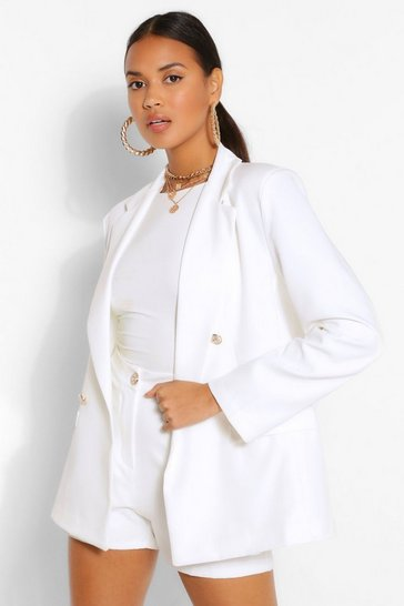 Ivory white Button Blazer