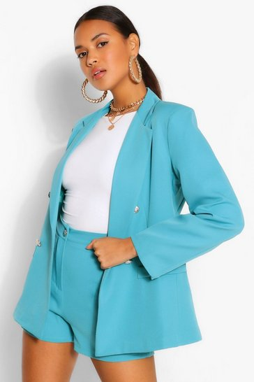 Teal green Button Blazer