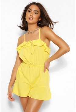 Chartreuse Ruffle Tie Shoulder Playsuit