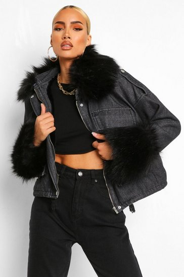 Black Faux Fur Collar And Cuff Oversized Denim Jacket