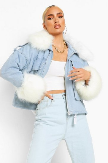 Blue Faux Fur Collar And Cuff Oversized Denim Jacket