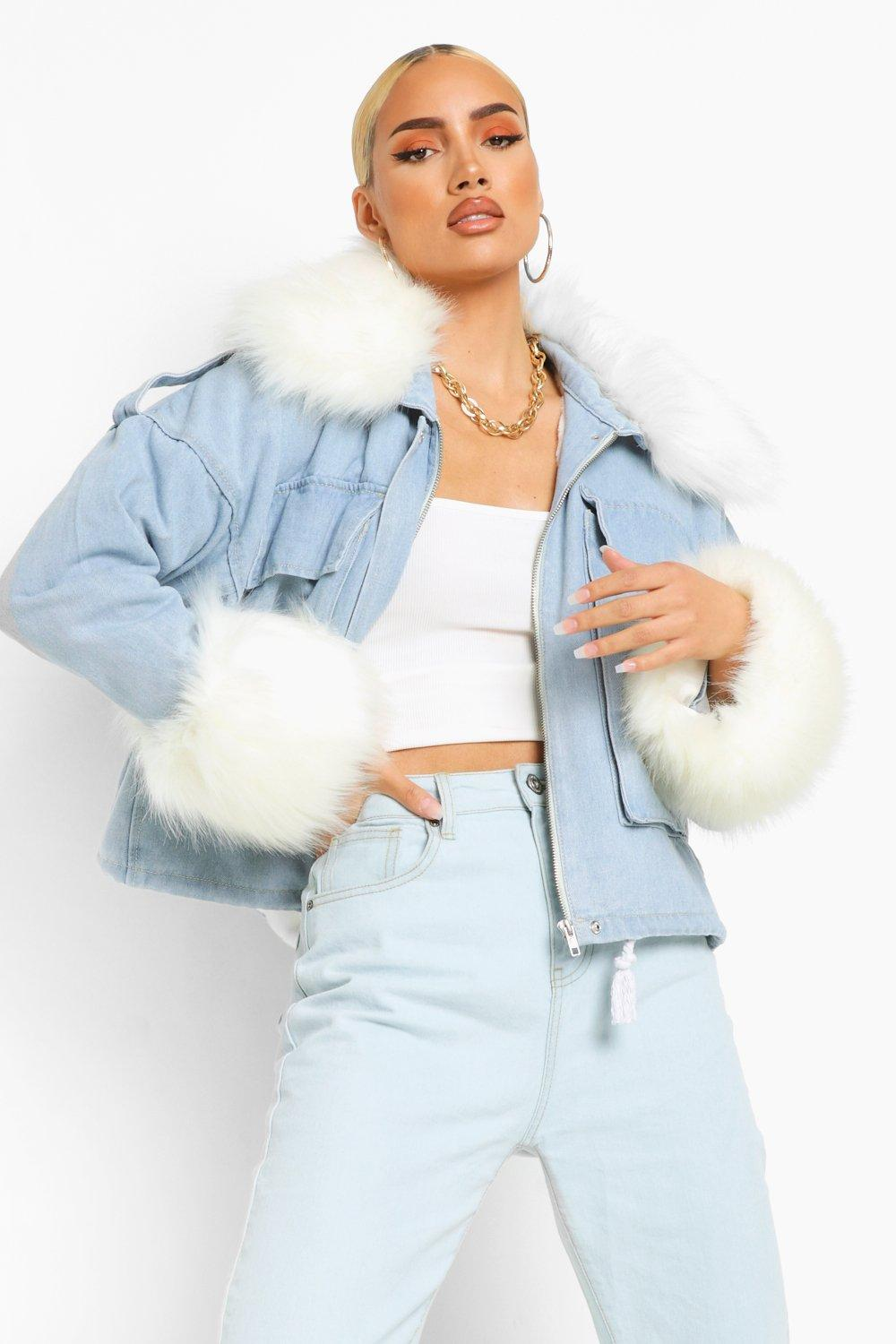 NEW IN Faux Fur Collar And Cuff Oversized Denim Jacket
