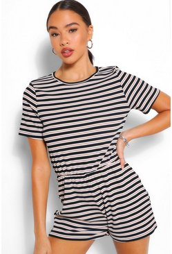 Stone Jersey Stripe Ribbed Playsuit