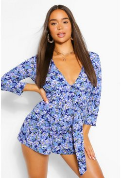 Blue Floral Wrap Belted Playsuit