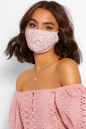 Pink Ditsy Floral Fashion Face Mask