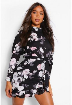Black Floral High Neck Puff Sleeve Mini Dress