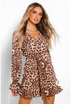 Brown Leopard Print Plunge Ribbon Tie Mini Dress