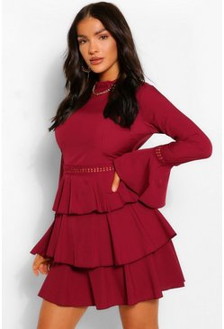 Berry red High Neck Tiered Skater Dress