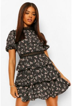 Black Floral High Neck Puff Sleeve Tiered Skater Dress