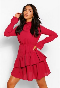 Berry Woven Shirred Neck Ruffle Detail Skater Dress