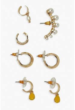 Goud metallic Parel & ear cuff met gekleurde edelsteen & Hoepel Pack