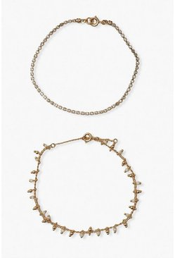 Gold metallic Delicate Diamante Drop 2 Pack Bracelets