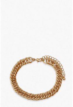 Gold metallic Chain Detail Bracelet