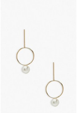 Gold metallic Circle and Bar Pearl Drop Earrings