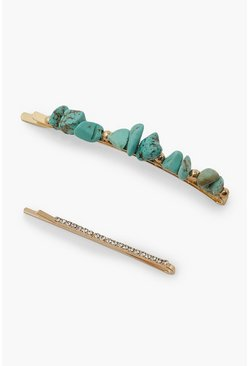 Turquoise blue 2 Pack Stone And Diamante Hair Slide