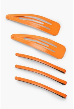 Orange 5 Pack Colour Hair Slides