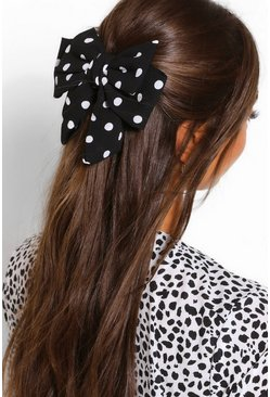Black Polka Dot Bow Hair Clip
