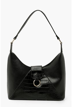 Black Croc Detail Shoulder Day Bag