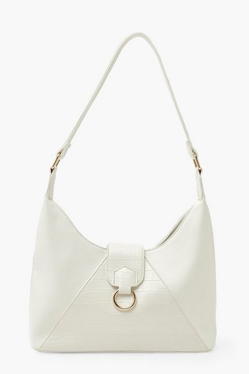 White Croc Detail Shoulder Day Bag