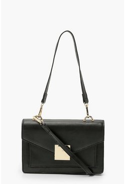 Black Pu Envelope Structured Cross Body Bag