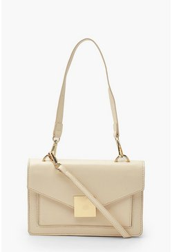 Cream white Pu Envelope Structured Cross Body Bag