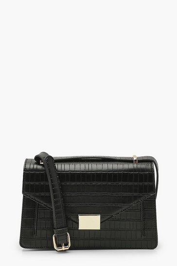 Black Croc Envelope Structured Crossbody Bag