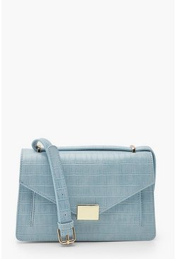 Powder blue blue Croc Envelope Structured Crossbody Bag
