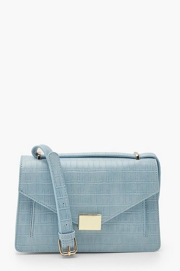 Powder blue Croc Envelope Structured Crossbody Bag