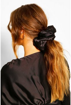 Black Oversized Supersoft Hair Protect Scrunchie