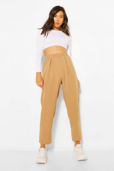 Camel beige Tapered Elasticated Waist Trousers