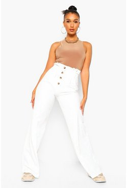 Ivory white Button Front Wide Leg Trouser