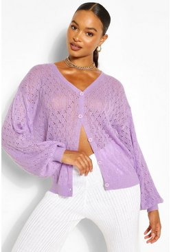 Lilac purple Slouch Balloon Sleeve Pointelle Cardigan