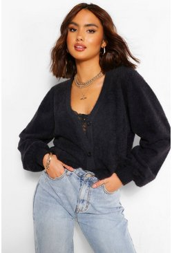 Black Premium Fluffy V Neck Cardigan