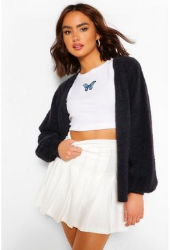 Black Premium Fluffy Knit V Neck Cardigan