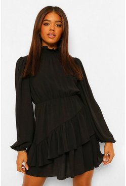 Black Shirred Neck Blouson Sleeve Skater Dress