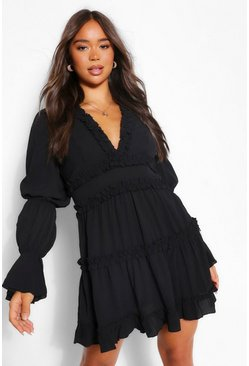 Black Ruffle Trim Drape Sleeve Skater Dress
