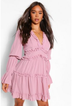 Mauve purple Ruffle Trim Drape Sleeve Skater Dress