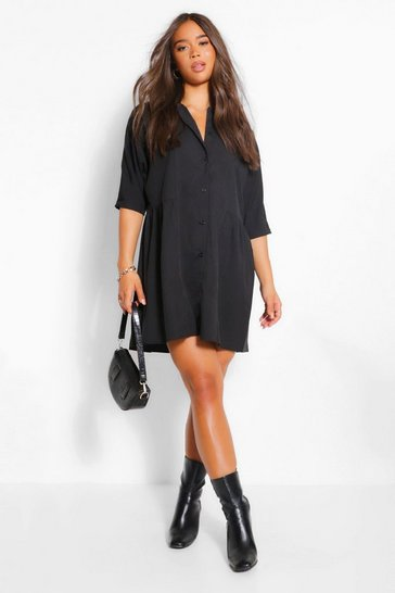 Black 3/4 Sleeve Shirt Dress