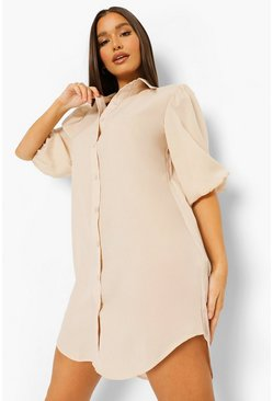 Stone beige Puff Sleeve Oversized Shirt Dress