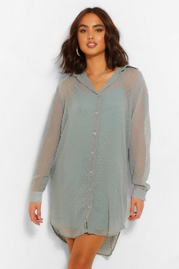 Sage Dobby Oversized Dip Hem Shirt Dress